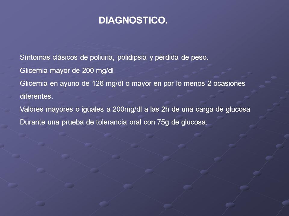 DIAGNOSTICO. Síntomas clásicos de poliuria, polidipsia y pérdida de peso. Glicemia mayor de 200 mg/dl Glicemia en ayuno de 126 mg/dl o mayor en por lo