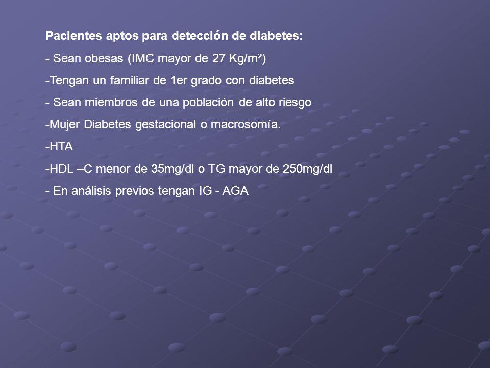 Pacientes aptos para detección de diabetes: - Sean obesas (IMC mayor de 27 Kg/m²) -Tengan un familiar de 1er grado con diabetes - Sean miembros de una