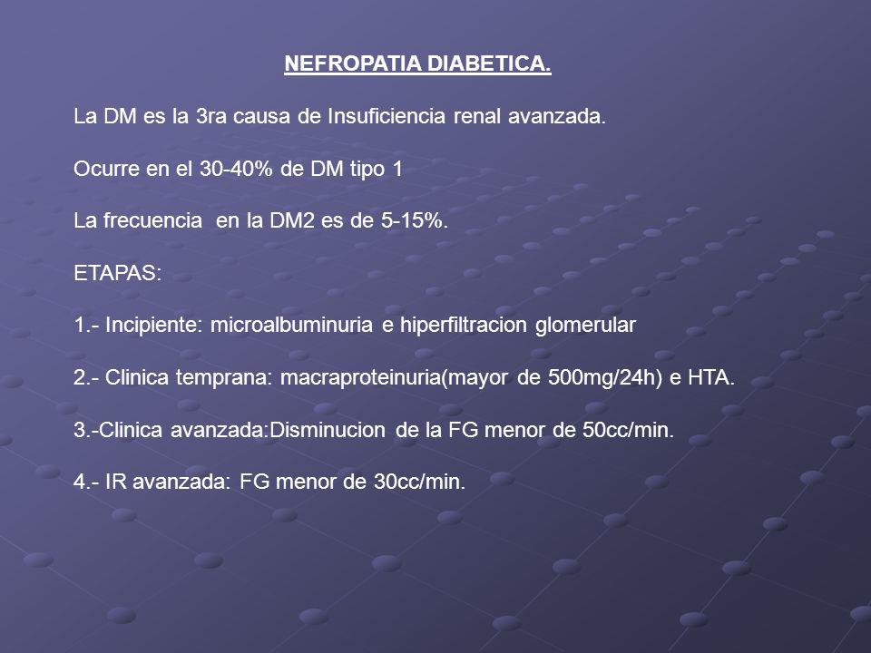 NEFROPATIA DIABETICA. La DM es la 3ra causa de Insuficiencia renal avanzada. Ocurre en el 30-40% de DM tipo 1 La frecuencia en la DM2 es de 5-15%. ETA
