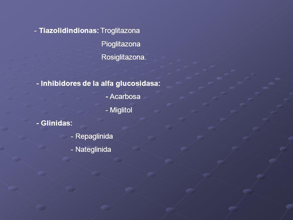 - Tiazolidindionas: Troglitazona Pioglitazona Rosiglitazona. - Inhibidores de la alfa glucosidasa: - Acarbosa - Miglitol - Glinidas: - Repaglinida - N