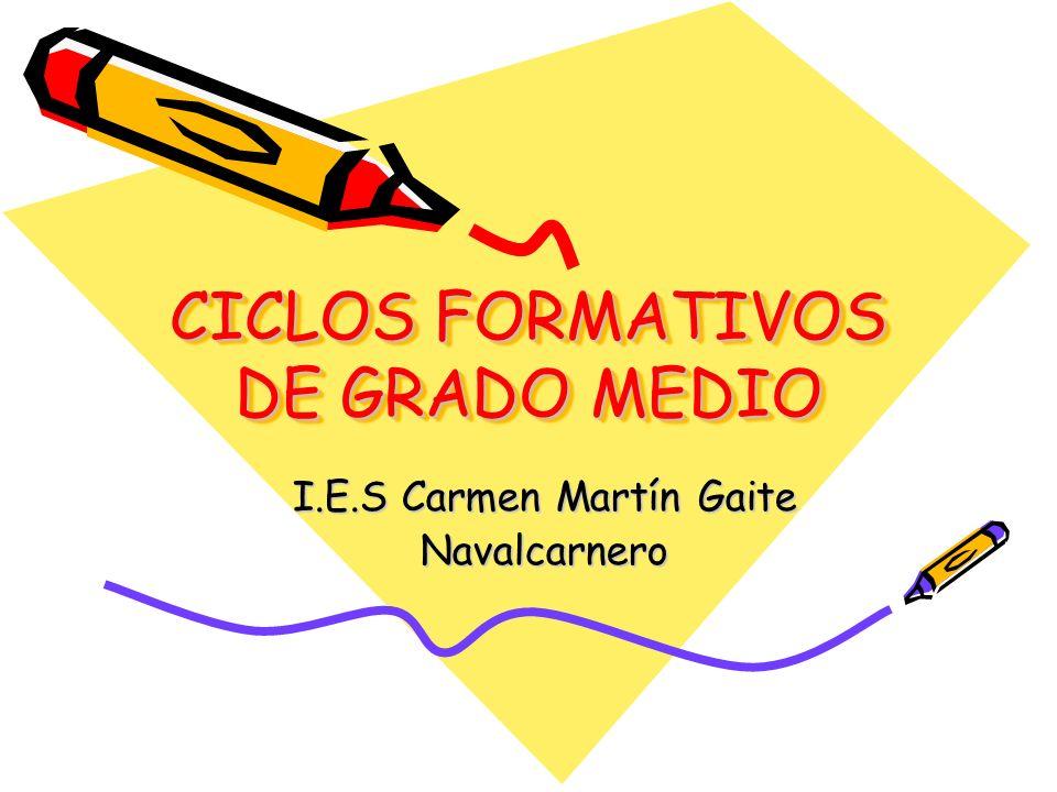 CICLOS FORMATIVOS DE GRADO MEDIO I.E.S Carmen Martín Gaite Navalcarnero