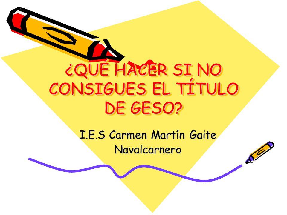 ¿QUÉ HACER SI NO CONSIGUES EL TÍTULO DE GESO? I.E.S Carmen Martín Gaite Navalcarnero