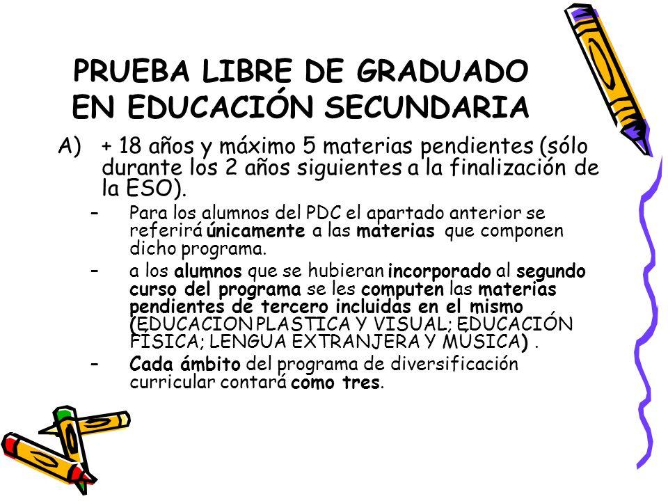 PRUEBA LIBRE DE GRADUADO EN EDUCACIÓN SECUNDARIA A)+ 18 años y máximo 5 materias pendientes (sólo durante los 2 años siguientes a la finalización de la ESO).