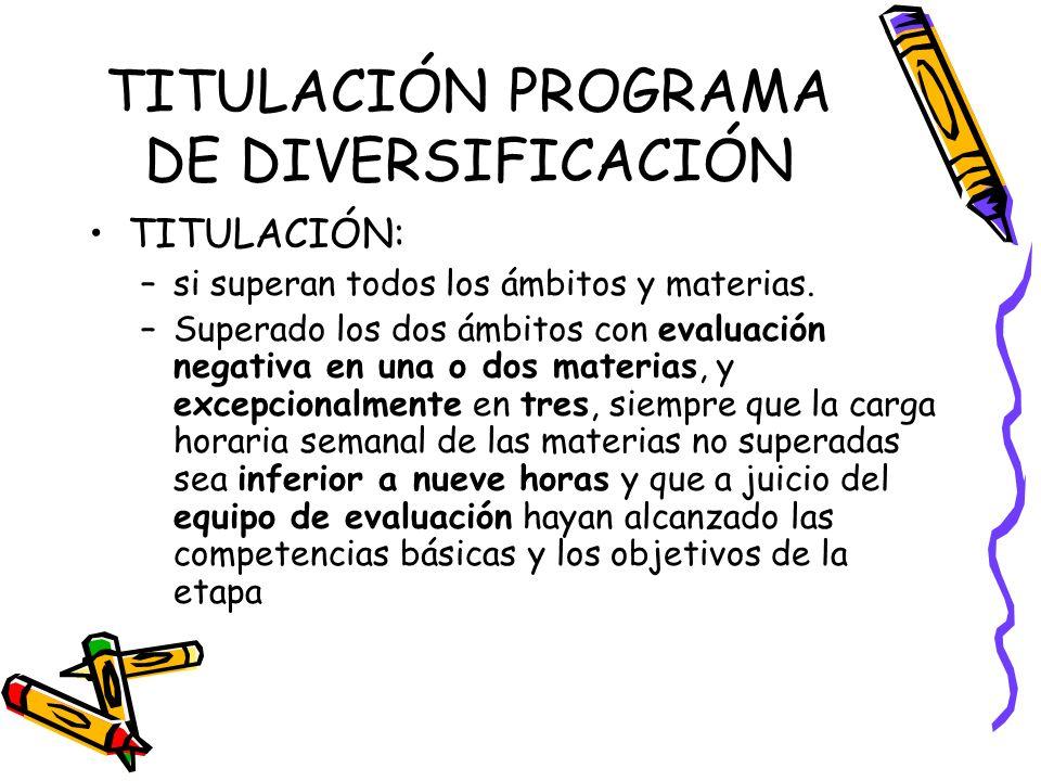TITULACIÓN PROGRAMA DE DIVERSIFICACIÓN TITULACIÓN: –si superan todos los ámbitos y materias.