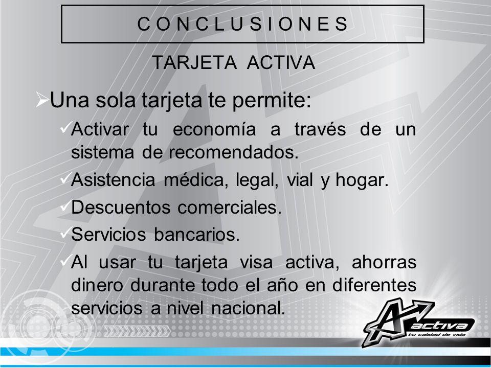 C O N C L U S I O N E S TARJETA ACTIVA Una sola tarjeta te permite: Activar tu economía a través de un sistema de recomendados. Asistencia médica, leg