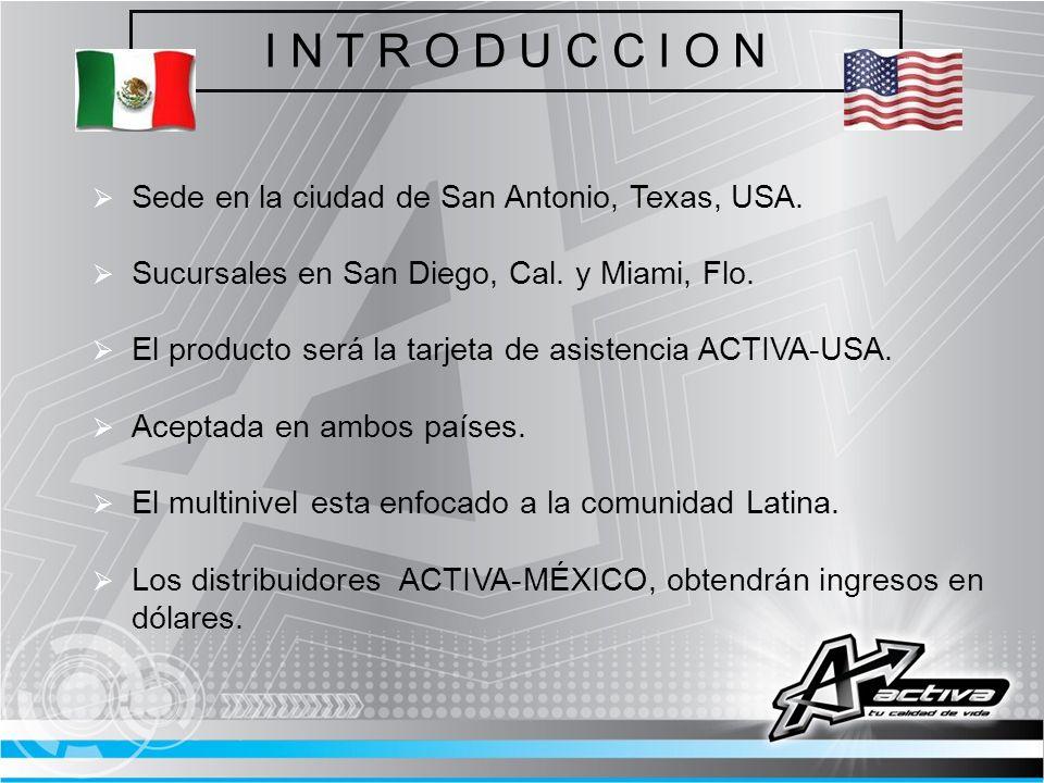 I N T R O D U C C I O N Sede en la ciudad de San Antonio, Texas, USA. Sucursales en San Diego, Cal. y Miami, Flo. El producto será la tarjeta de asist