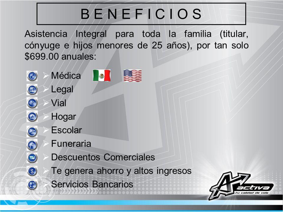 B E N E F I C I O S Asistencia Integral para toda la familia (titular, cónyuge e hijos menores de 25 años), por tan solo $699.00 anuales: Médica Legal
