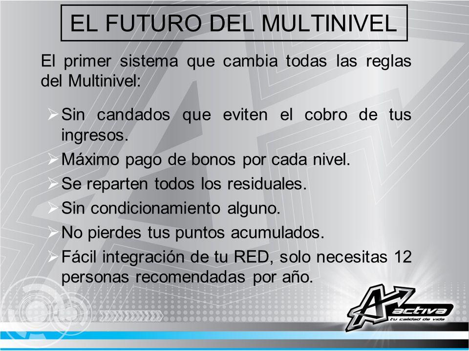 EL FUTURO DEL MULTINIVEL El primer sistema que cambia todas las reglas del Multinivel: Sin candados que eviten el cobro de tus ingresos. Máximo pago d