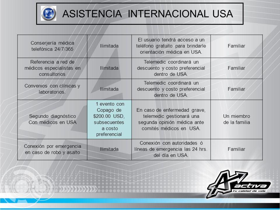 ASISTENCIA INTERNACIONAL USA Conserjería médica telefónica 24/7/365 Ilimitada El usuario tendrá acceso a un teléfono gratuito para brindarle orientaci