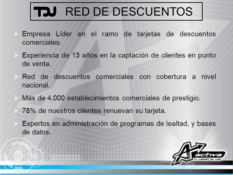 RED DE DESCUENTOS Descuentos Comerciales desde el 10% hasta el 50%, en más de 4,000 establecimientos de prestigio.