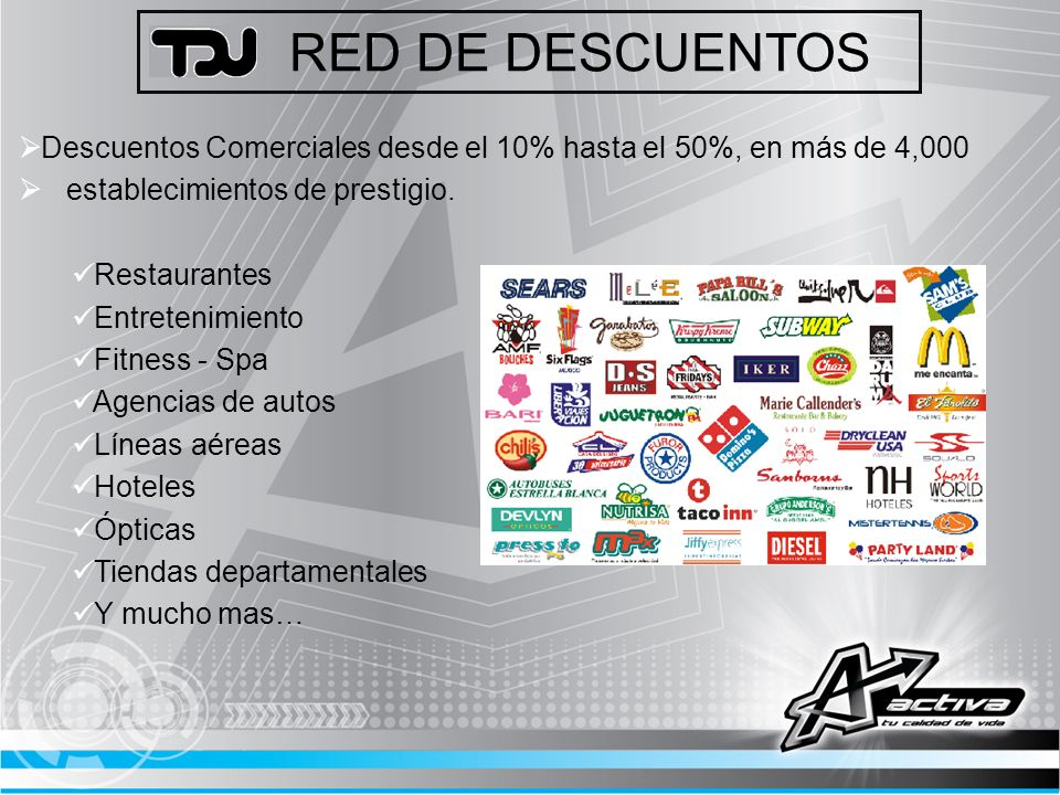 RED DE DESCUENTOS Descuentos Comerciales desde el 10% hasta el 50%, en más de 4,000 establecimientos de prestigio. Restaurantes Entretenimiento Fitnes