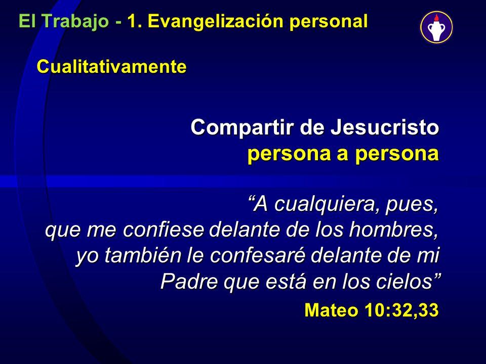 El Trabajo - 1. Evangelización personal Cualitativamente Compartir de Jesucristo persona a persona A cualquiera, pues, que me confiese delante de los