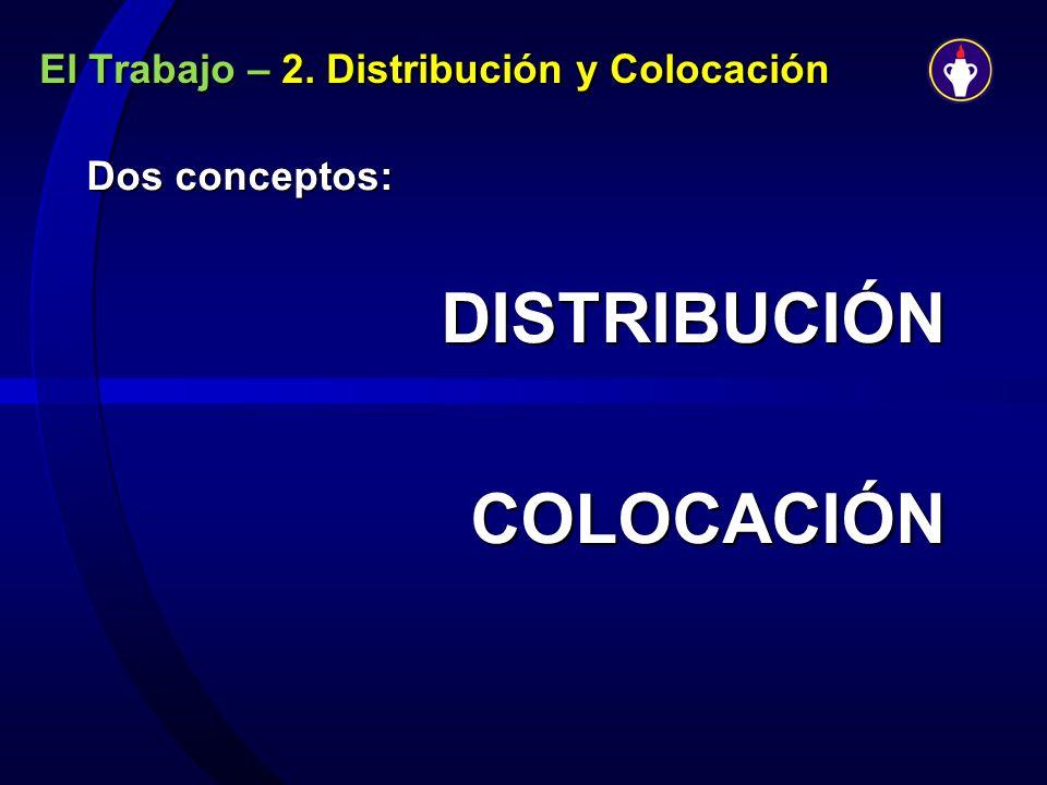El Trabajo – 2. Distribución y Colocación Dos conceptos: DISTRIBUCIÓNCOLOCACIÓN