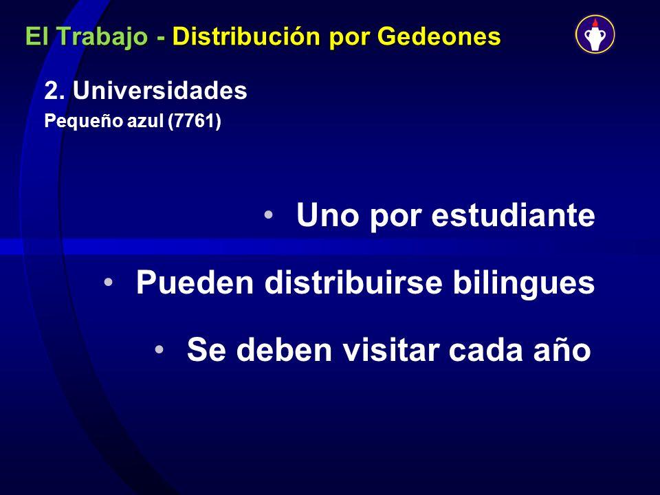 El Trabajo - Distribución por Gedeones 2. Universidades Pequeño azul (7761) Uno por estudiante Pueden distribuirse bilingues Se deben visitar cada año
