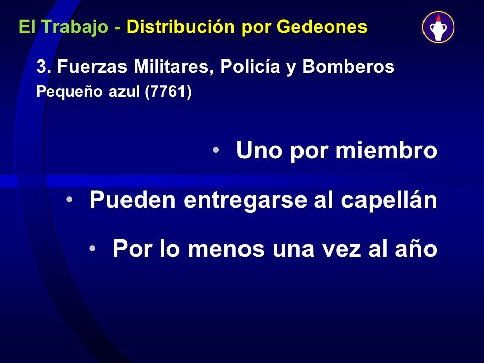 El Trabajo - Distribución por Gedeones 3. Fuerzas Militares, Policía y Bomberos Pequeño azul (7761) Uno por miembroUno por miembro Pueden entregarse a