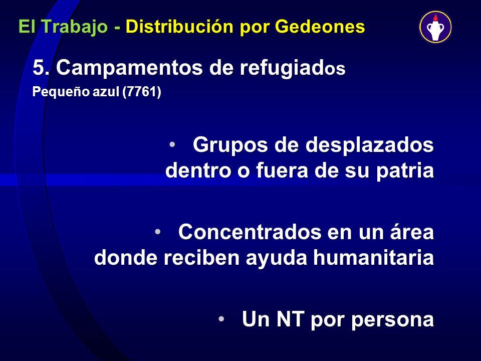 El Trabajo - Distribución por Gedeones 5. Campamentos de refugiad os Pequeño azul (7761) Grupos de desplazados dentro o fuera de su patriaGrupos de de