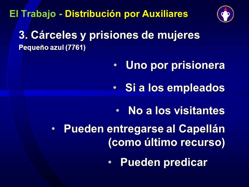 El Trabajo - Distribución por Auxiliares 3. Cárceles y prisiones de mujeres Pequeño azul (7761) Uno por prisioneraUno por prisionera Si a los empleado