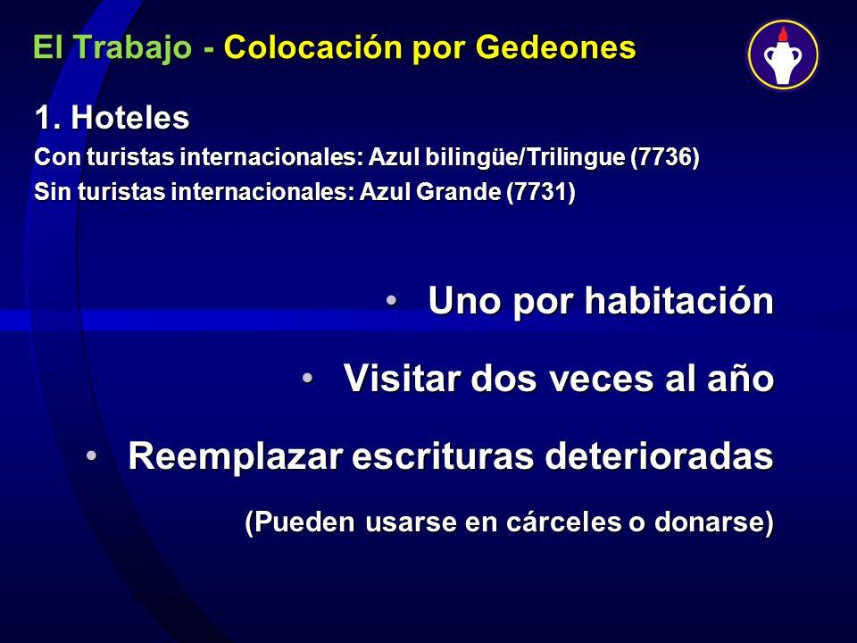 El Trabajo - Colocación por Gedeones 1. Hoteles Con turistas internacionales: Azul bilingüe/Trilingue (7736) Sin turistas internacionales: Azul Grande