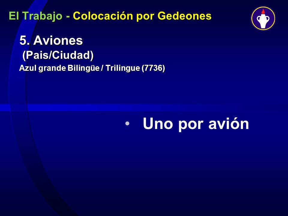 El Trabajo - Colocación por Gedeones 5. Aviones (Pais/Ciudad) Azul grande Bilingüe / Trilingue (7736) Uno por avión