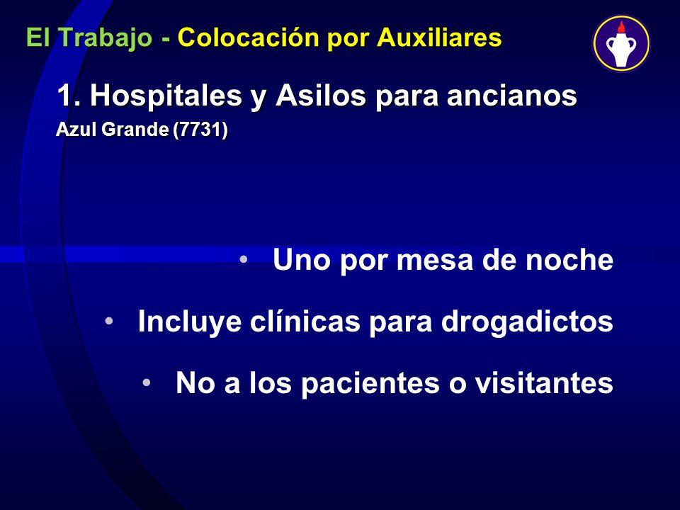 El Trabajo - Colocación por Auxiliares 1. Hospitales y Asilos para ancianos Azul Grande (7731) Uno por mesa de noche Incluye clínicas para drogadictos