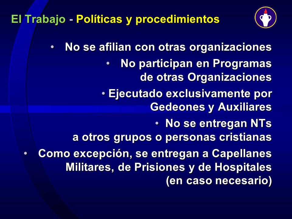 El Trabajo - Políticas y procedimientos No se afilian con otras organizacionesNo se afilian con otras organizaciones No participan en Programas de otr