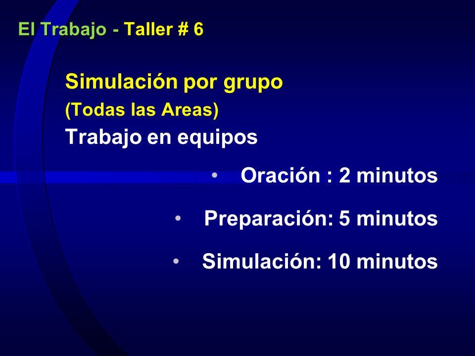 El Trabajo - Taller # 6 Simulación por grupo (Todas las Areas) Trabajo en equipos Oración : 2 minutos Preparación: 5 minutos Simulación: 10 minutos