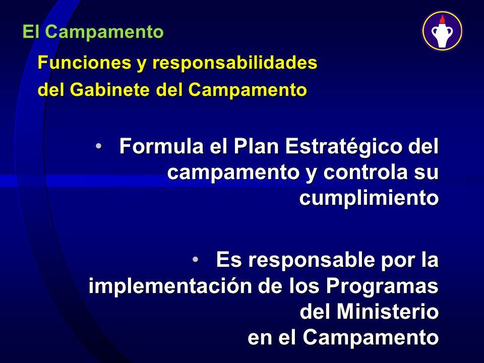 El Campamento Funciones y responsabilidades del Gabinete del Campamento Formula el Plan Estratégico del campamento y controla su cumplimientoFormula e