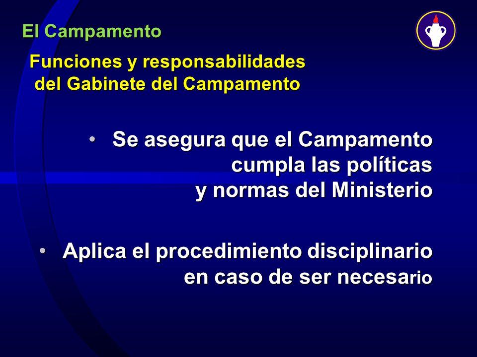 El Campamento Funciones y responsabilidades del Gabinete del Campamento Se asegura que el Campamento cumpla las políticas y normas del MinisterioSe as