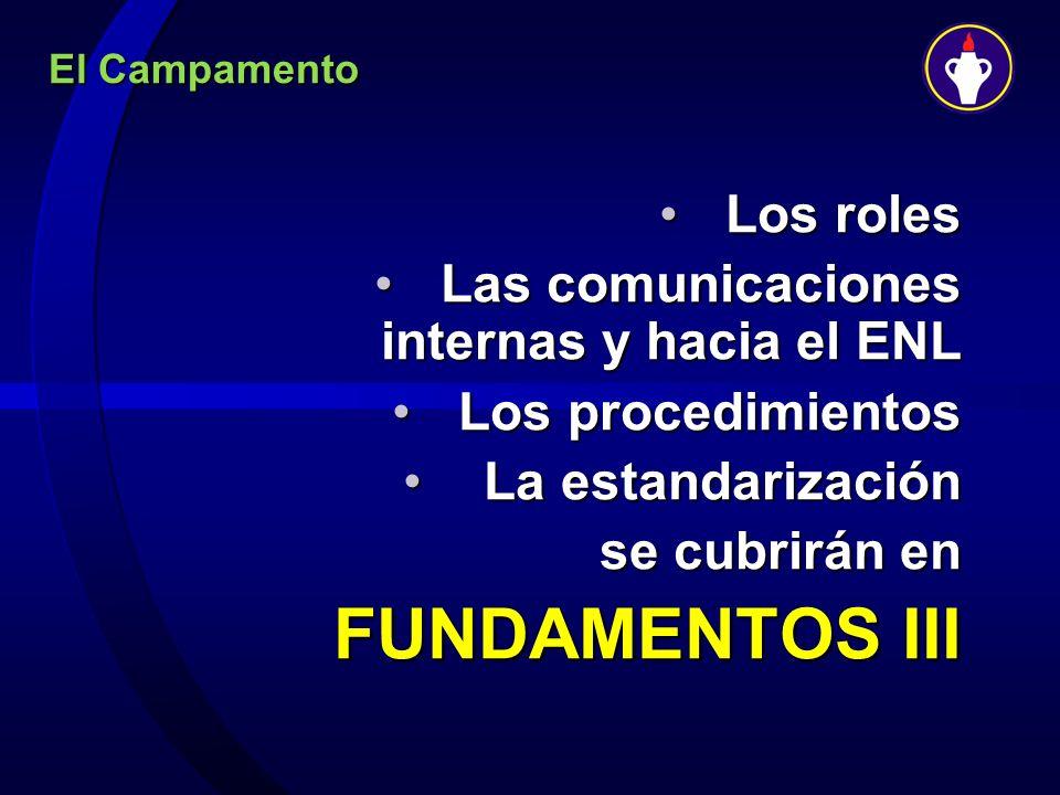 El Campamento Los rolesLos roles Las comunicaciones internas y hacia el ENLLas comunicaciones internas y hacia el ENL Los procedimientosLos procedimie