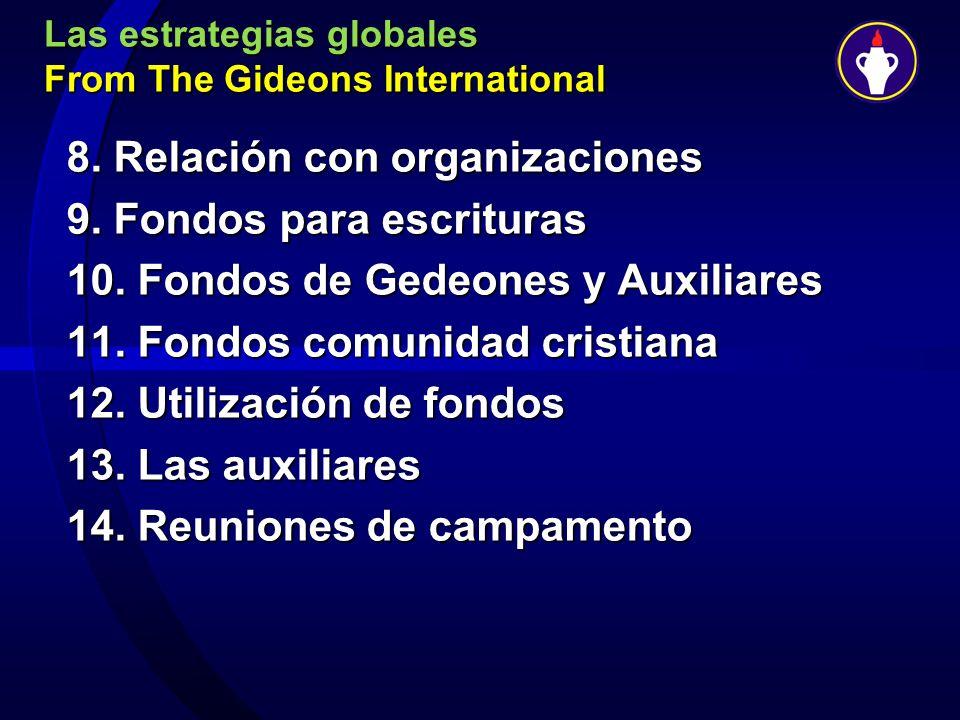 Las estrategias globales From The Gideons International 8. Relación con organizaciones 9. Fondos para escrituras 10. Fondos de Gedeones y Auxiliares 1