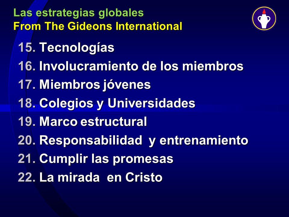 Las estrategias globales From The Gideons International 15. Tecnologías 16. Involucramiento de los miembros 17. Miembros jóvenes 18. Colegios y Univer