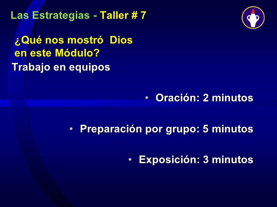 Las Estrategias - Taller # 7 ¿Qué nos mostró Dios en este Módulo? Trabajo en equipos Oración: 2 minutosOración: 2 minutos Preparación por grupo: 5 min
