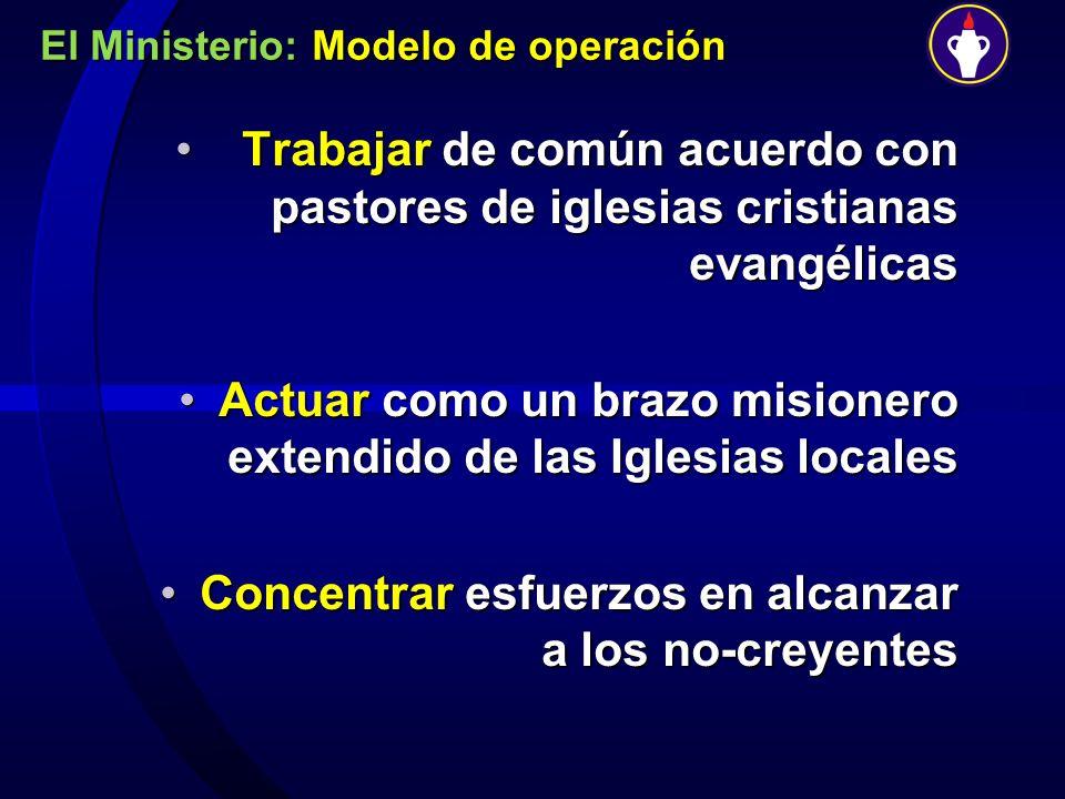 El Ministerio: Modelo de operación Trabajar de común acuerdo con pastores de iglesias cristianas evangélicas Trabajar de común acuerdo con pastores de