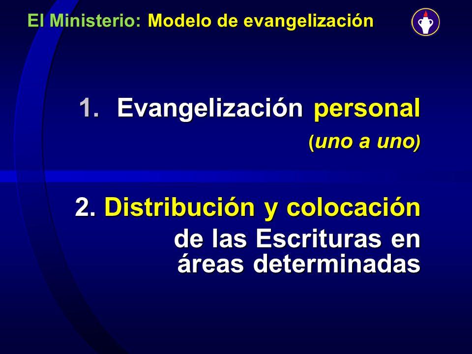 El Ministerio: Modelo de evangelización 1.Evangelización personal ( uno a uno ) 2. Distribución y colocación de las Escrituras en áreas determinadas d