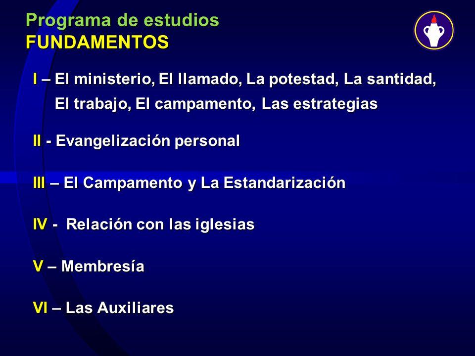 Programa de estudios FUNDAMENTOS I – El ministerio, El llamado, La potestad, La santidad, El trabajo, El campamento, Las estrategias El trabajo, El ca
