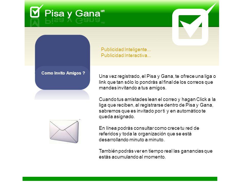 Una vez registrado, el Pisa y Gana, te ofrece una liga o link que tan sólo lo pondrás al final de los correos que mandes invitando a tus amigos.