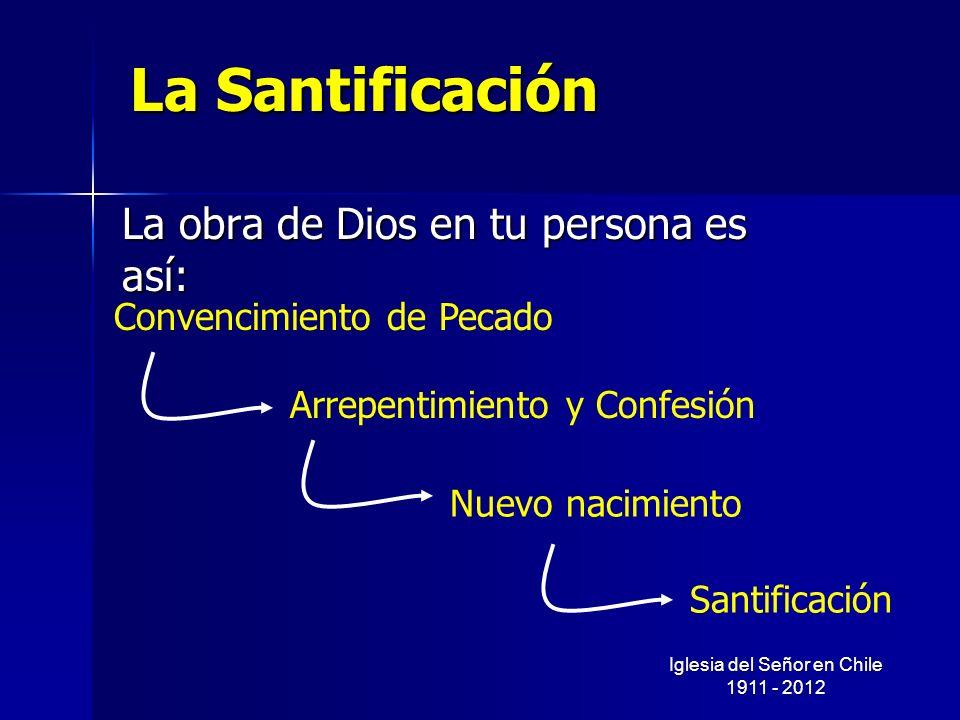 La Santificación La obra de Dios en tu persona es así: Convencimiento de Pecado Arrepentimiento y Confesión Nuevo nacimiento Santificación Iglesia del