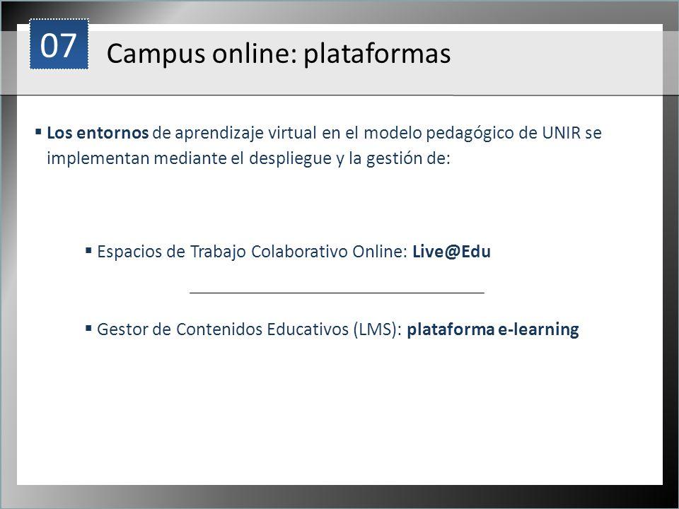 1 Campus online: plataformas Los entornos de aprendizaje virtual en el modelo pedagógico de UNIR se implementan mediante el despliegue y la gestión de