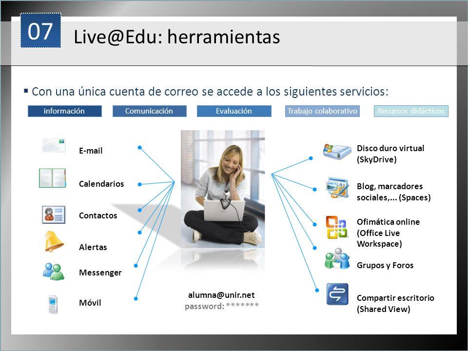 1 Live@Edu: herramientas Con una única cuenta de correo se accede a los siguientes servicios: alumna@unir.net password: ******* Blog, marcadores socia