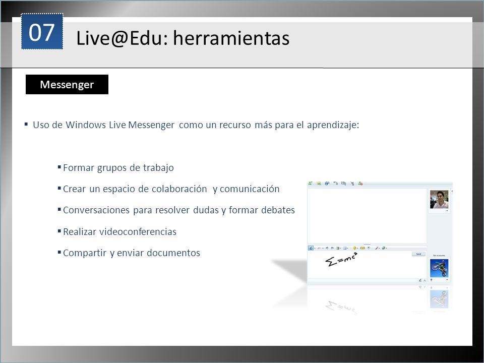 1 Uso de Windows Live Messenger como un recurso más para el aprendizaje: Formar grupos de trabajo Crear un espacio de colaboración y comunicación Conv
