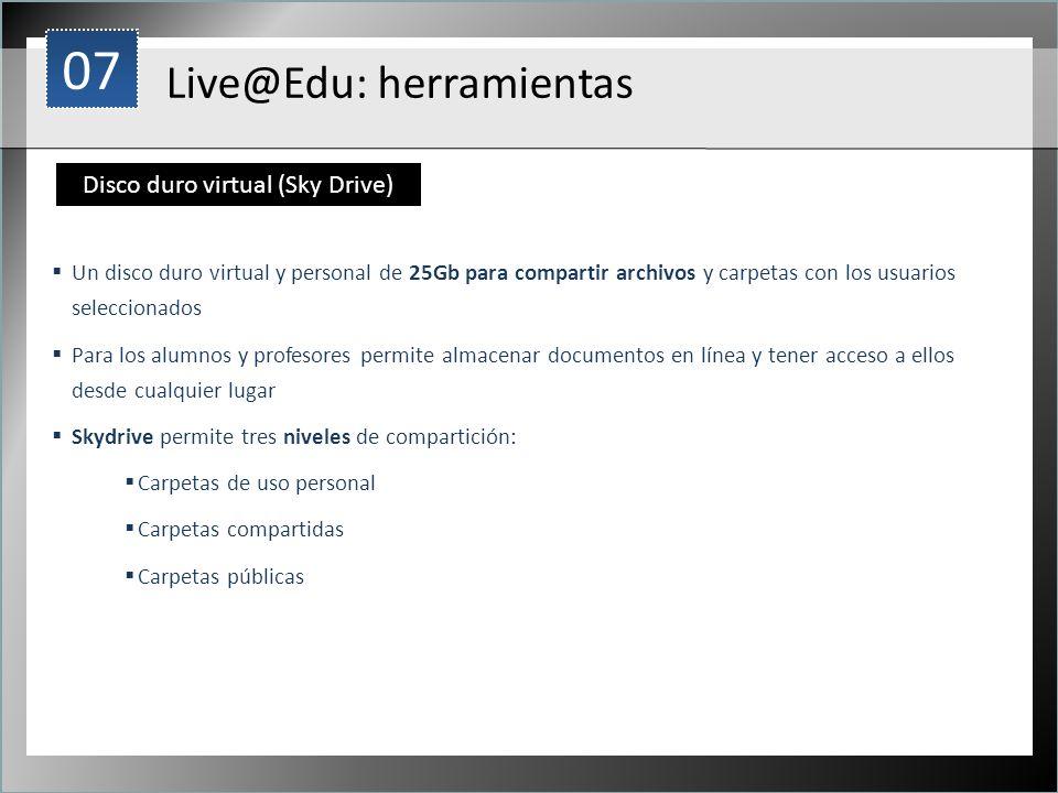 1 Un disco duro virtual y personal de 25Gb para compartir archivos y carpetas con los usuarios seleccionados Para los alumnos y profesores permite alm