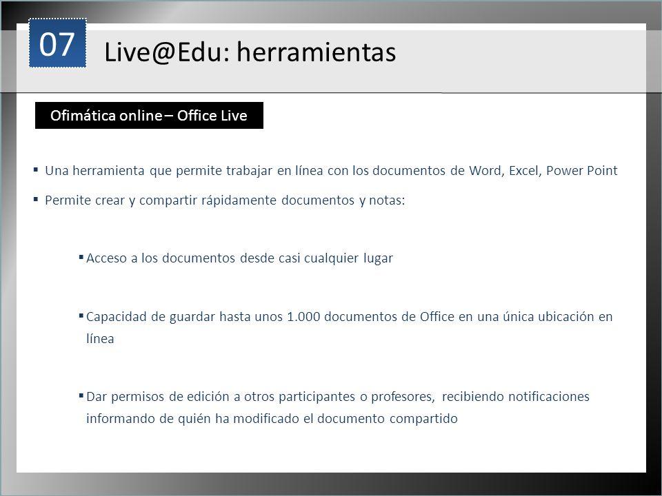 1 Una herramienta que permite trabajar en línea con los documentos de Word, Excel, Power Point Permite crear y compartir rápidamente documentos y nota