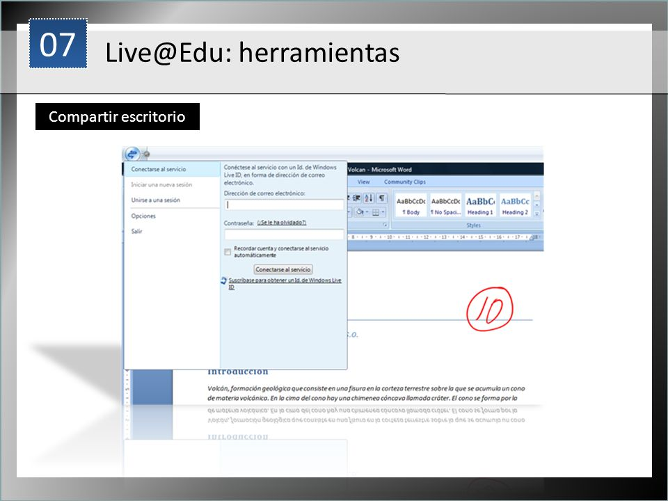 1 Live@Edu: herramientas Compartir escritorio 07