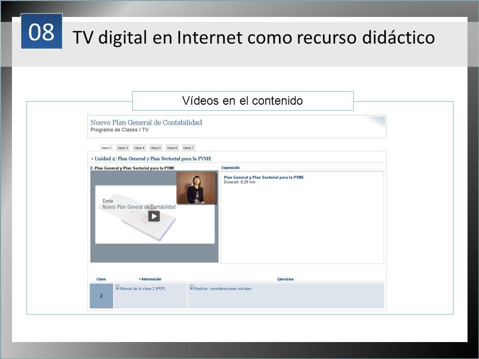 1 Vídeos en el contenido 08 TV digital en Internet como recurso didáctico