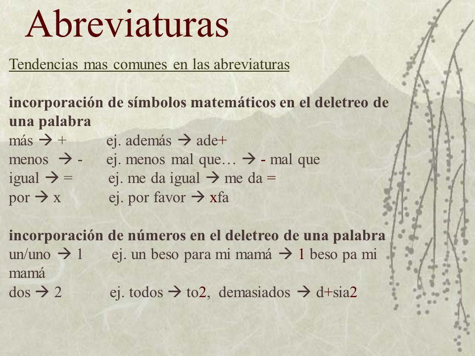 Abreviaturas Tendencias mas comunes en las abreviaturas incorporación de símbolos matemáticos en el deletreo de una palabra más + ej.