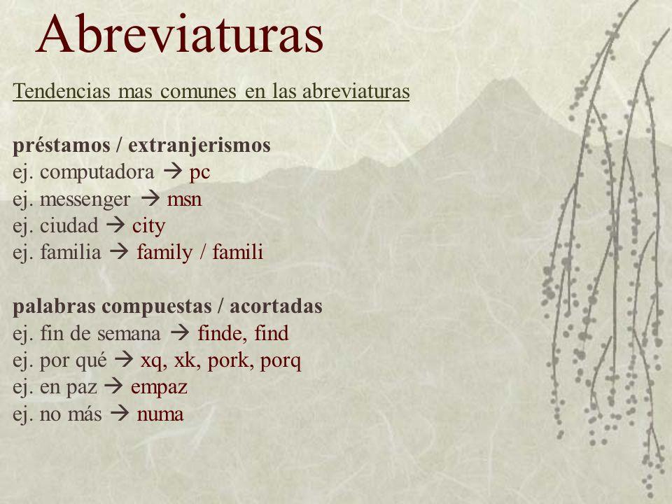 Abreviaturas Tendencias mas comunes en las abreviaturas préstamos / extranjerismos ej.