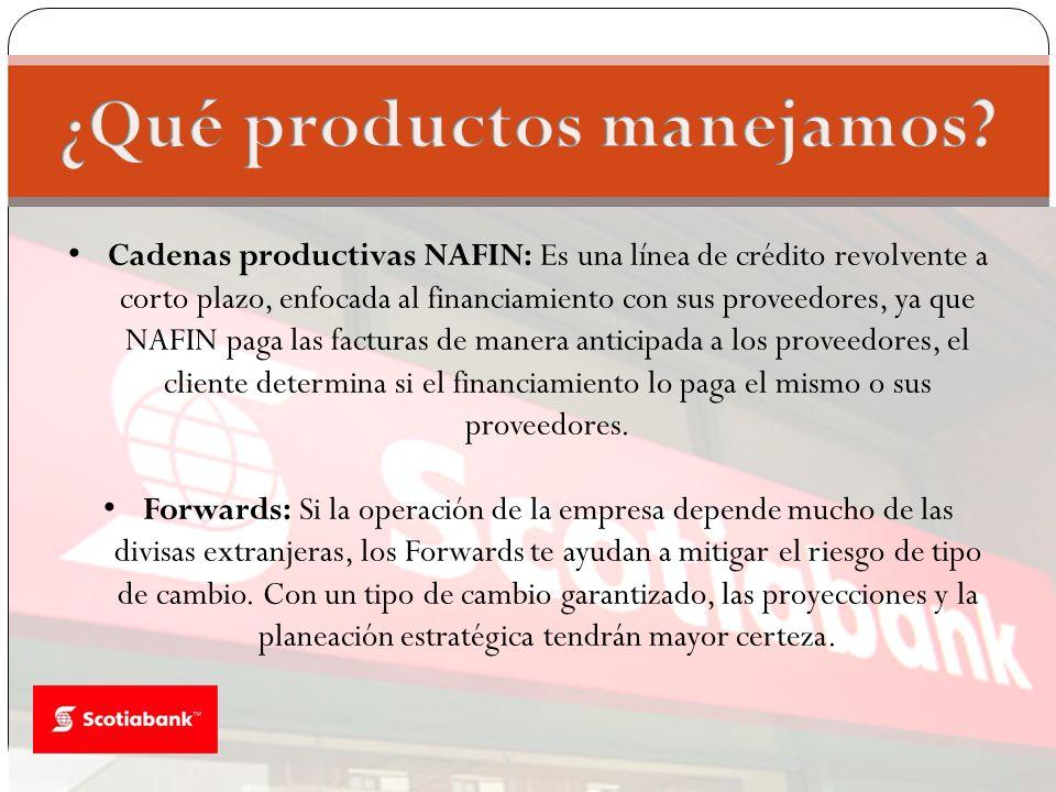 Cadenas productivas NAFIN: Es una línea de crédito revolvente a corto plazo, enfocada al financiamiento con sus proveedores, ya que NAFIN paga las fac