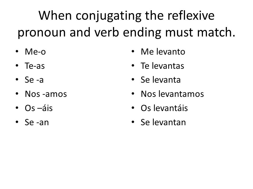 When conjugating the reflexive pronoun and verb ending must match.