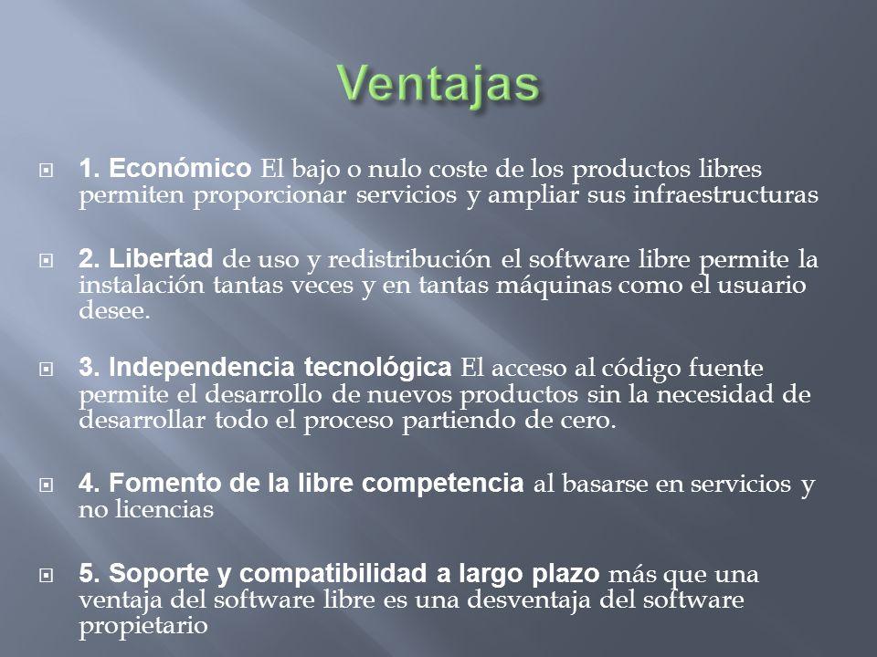 1. Económico El bajo o nulo coste de los productos libres permiten proporcionar servicios y ampliar sus infraestructuras 2. Libertad de uso y redistri