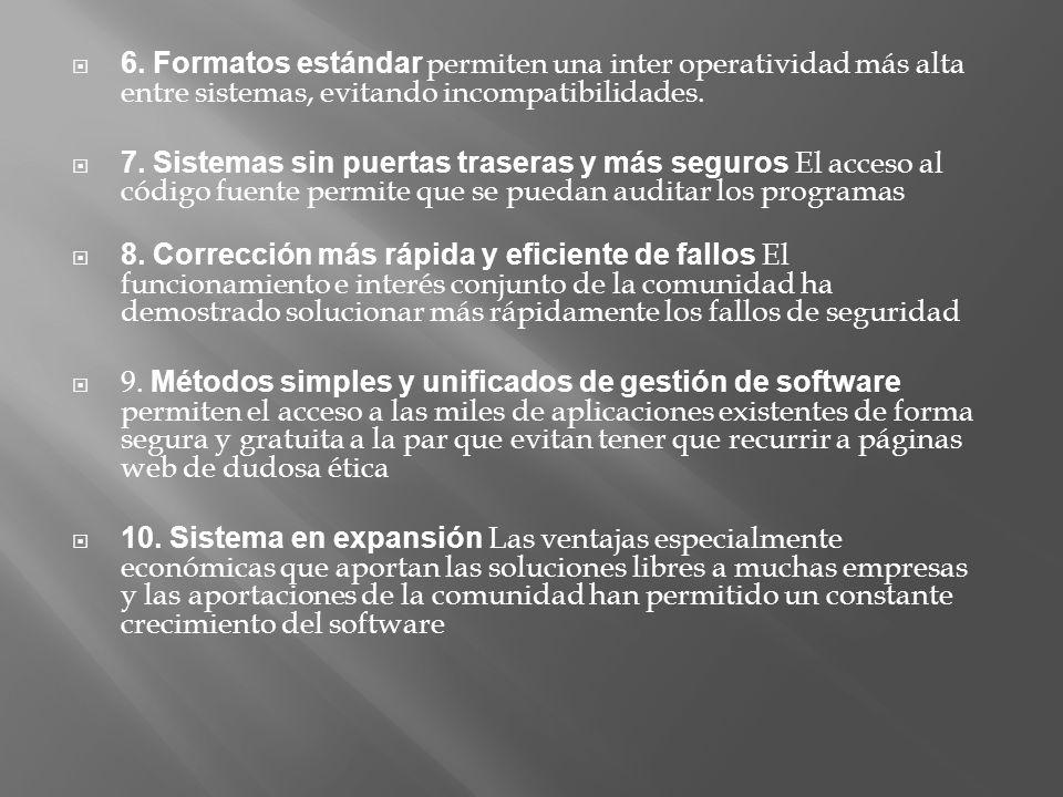 6. Formatos estándar permiten una inter operatividad más alta entre sistemas, evitando incompatibilidades. 7. Sistemas sin puertas traseras y más segu